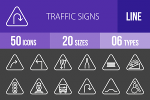 50 Traffic Signs Line Inverted Icons - Overview - IconBunny