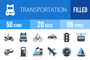 50 Transportation Blue & Black Icons - Overview - IconBunny