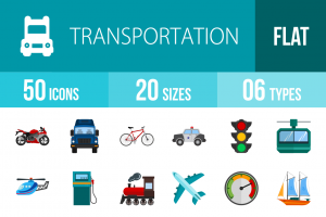 50 Transportation Flat Multicolor Icons - Overview - IconBunny