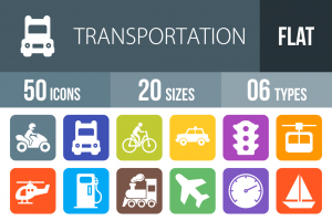 50 Transportation Flat Round Corner Icons - Overview - IconBunny