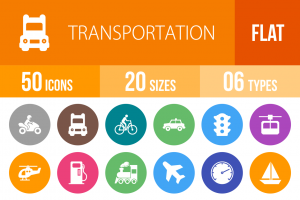50 Transportation Flat Round Icons - Overview - IconBunny