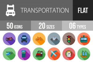 50 Transportation Flat Shadowed Icons - Overview - IconBunny