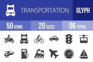 50 Transportation Glyph Icons - Overview - IconBunny
