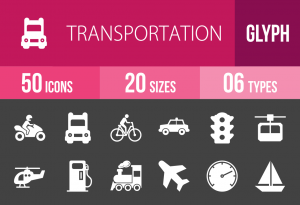 50 Transportation Glyph Inverted Icons - Overview - IconBunny
