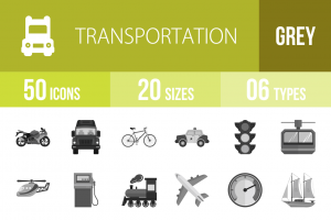 50 Transportation Greyscale Icons - Overview - IconBunny
