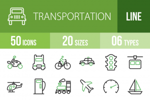 50 Transportation Line Green & Black Icons - Overview - IconBunny