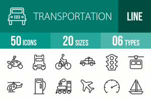50 Transportation Line Icons - Overview - IconBunny