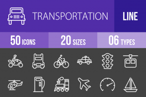 50 Transportation Line Inverted Icons - Overview - IconBunny