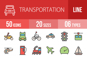 50 Transportation Line Multicolor Filled Icons - Overview - IconBunny