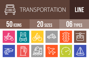 50 Transportation Line Multicolor B/G Icons - Overview - IconBunny