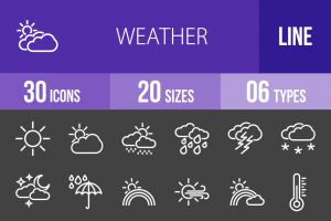 30 Weather Line Inverted Icons - Overview - IconBunny