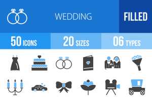 50 Wedding Blue & Black Icons - Overview - IconBunny