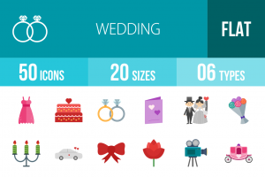 50 Wedding Flat Multicolor Icons - Overview - IconBunny