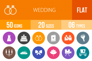 50 Wedding Flat Round Icons - Overview - IconBunny