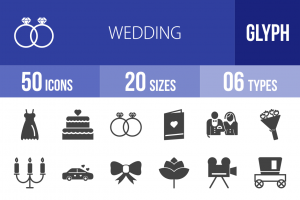 50 Wedding Glyph Icons - Overview - IconBunny