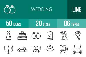 50 Wedding Line Icons - Overview - IconBunny