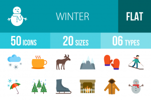 50 Winter Flat Multicolor Icons - Overview - IconBunny
