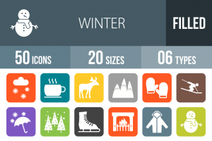 50 Winter Flat Round Corner Icons - Overview - IconBunny