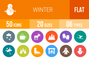 50 Winter Flat Round Icons - Overview - IconBunny