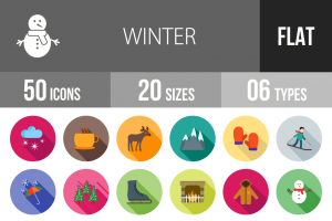 50 Winter Flat Shadowed Icons - Overview - IconBunny