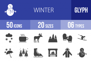 50 Winter Glyph Icons - Overview - IconBunny