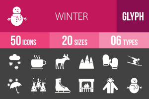 50 Winter Glyph Inverted Icons - Overview - IconBunny