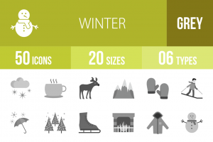 50 Winter Greyscale Icons - Overview - IconBunny