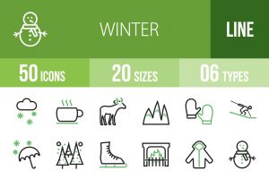 50 Winter Line Green Black Icons - Overview - IconBunny