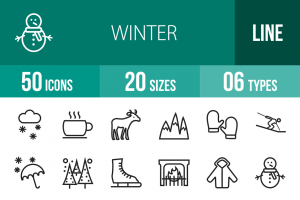 50 Winter Line Icons - Overview - IconBunny