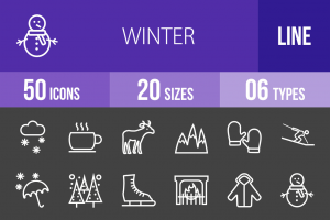 50 Winter Line Inverted Icons - Overview - IconBunny