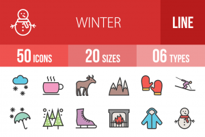 50 Winter Line Multicolor Filled Icons - Overview - IconBunny