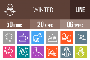 50 Winter Line Multicolor B/G Icons - Overview - IconBunny