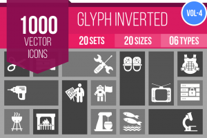 1000 Glyph Inverted Icons Bundle - Overview - IconBunny