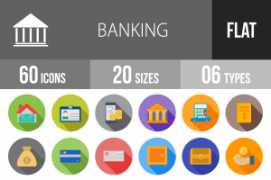 60 Banking Flat Shadowed Icons - Overview - IconBunny