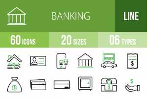 60 Banking Line Green & Black Icons - Overview - IconBunny