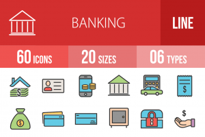 60 Banking Line Multicolor Filled Icons - Overview - IconBunny