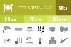 60 Hotel & Restaurant Greyscale Icons - Overview - IconBunny