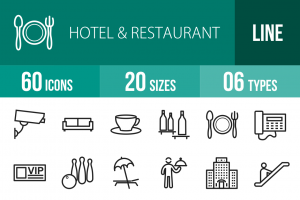 60 Hotel & Restaurant Line Icons - Overview - IconBunny