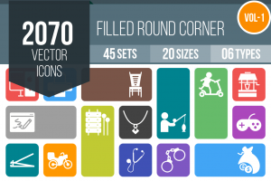 2070 Flat Round Corner Icons Bundle - Overview - IconBunny