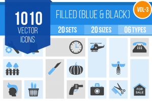 1010 Blue & Black Icons Bundle - Overview - IconBunny