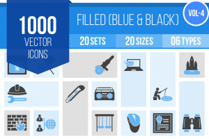 1000 Blue & Black Icons Bundle - Overview - IconBunny