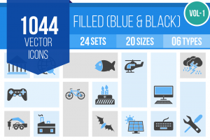 1044 Blue & Black Icons Bundle - Overview - IconBunny