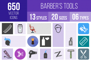 Barber's Tools Icons Bundle - Overview - IconBunny