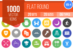 1000 Flat Round Icons Bundle - Overview - IconBunny