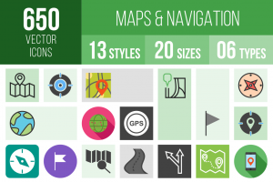 Maps & Navigation Icons Bundle - Overview - IconBunny