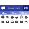 26 Email & Printers Glyph Icons - Overview - IconBunny