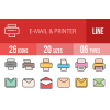 26 Email & Printers Line Multicolor Filled Icons - Overview - IconBunny