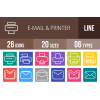 26 Email & Printers Line Multicolor B/G Icons - Overview - IconBunny