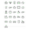 26 Real Estate Line Green & Black Icons - Preview - IconBunny