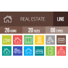 26 Real Estate Line Multicolor B/G Icons - Overview - IconBunny
